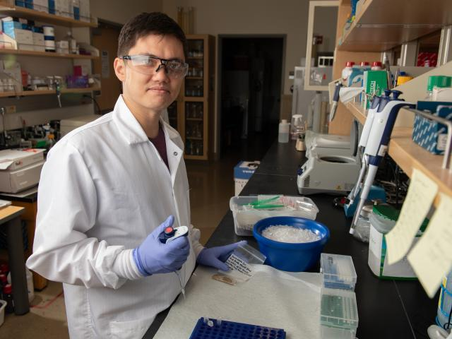 Charlie Alex, a Post Doctoral Scholar, prepares red panda fecal samples for DNA extraction.